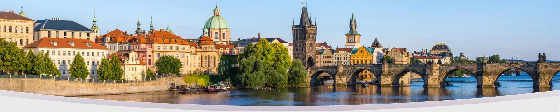 Scenic view of Prague and Charles Bridge